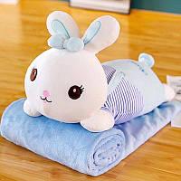 Плюшева іграшка-подушка кролик з пледом всередині 3 в 1 krd0181