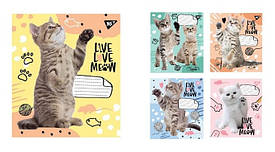 Тетрадь в клетку 12 листов YES Live love meow