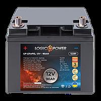 Акумулятор автомобільний LiFePO4 12V - 90 Ah (+ зліва пряма полярність) пластик LogicPower