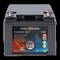 Акумулятор автомобільний LiFePO4 12V - 90 Ah (+ праворуч, зворотна полярність) пластик LogicPower