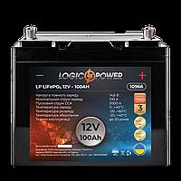 Акумулятор для автомобіля LiFePO4 12V - 100 Ah (+ зліва, пряма полярність) пластик LogicPower