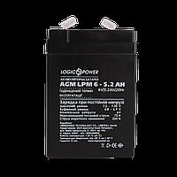 Аккумулятор AGM LogicPower LPM 6V 5,2 AH