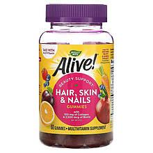 """Комплекс для кожи и волос Nature's Way """"Alive! Hair, Skin & Nails Gummies"""" с клубничным вкусом (60 конфет)"""