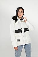 Стильная демисезонная куртка (Бело-черная), фото 1