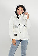 Стильная демисезонная куртка (Белый-серебро), фото 1