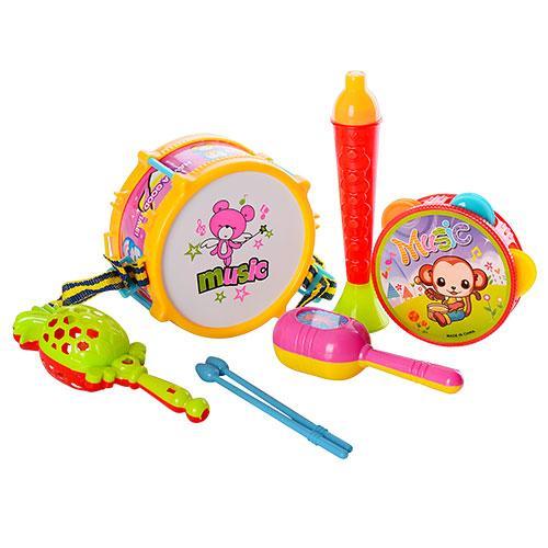 Музыкальные инструменты 3798-1  барабан,палочки2шт,бубен,маракасы,дудка,в кульке, 19-28-8см