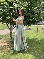 Женское длинное ментоловое платье из шифона Poliit 8853, фото 1
