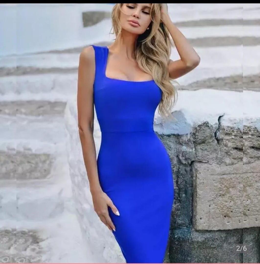 Женское летнее приталенное платье с квадратным вырезом
