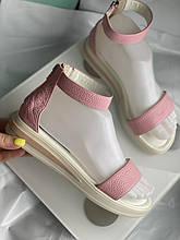 Босоножки розового цвета из натуральной кожи