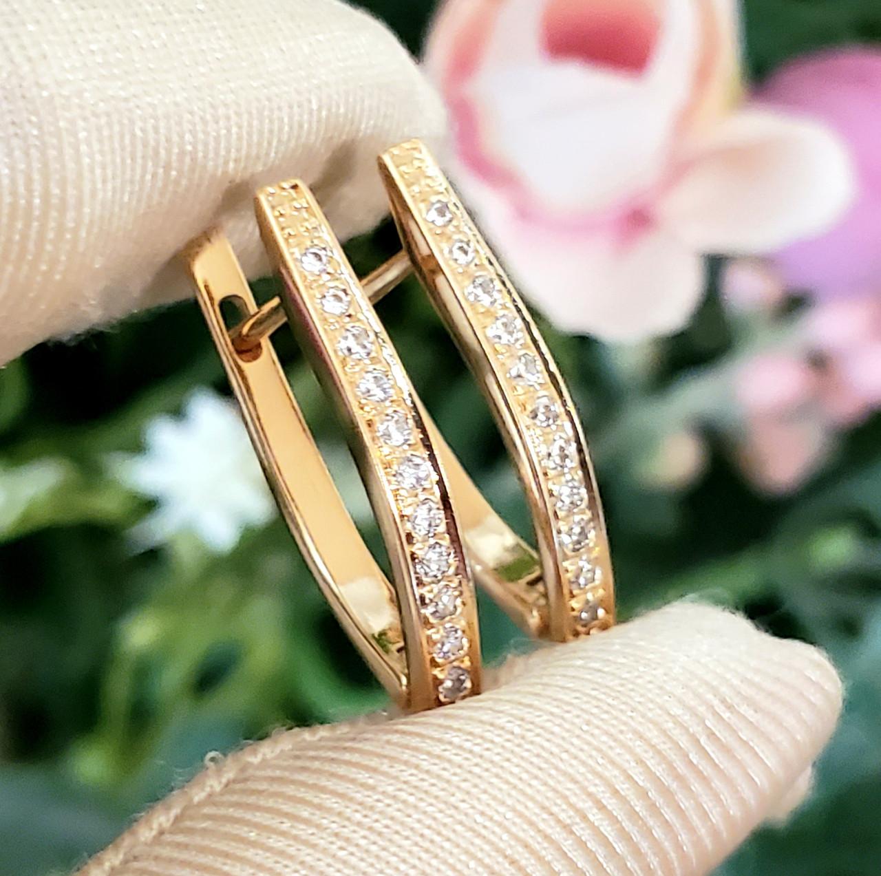 Сережки Xuping довжина 2.5 см медичне золото позолота 18К стріли с648