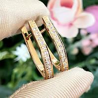 Сережки Xuping довжина 2.5 см медичне золото позолота 18К стріли с648, фото 1