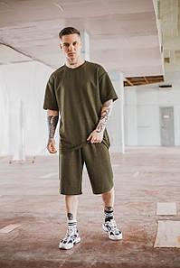 Летний мужской костюм Oversize футболка и шорты цвет хаки SKL59-292661