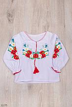 Вышиванка для девочки с длинным рукавом рост 98-116 (3-6 лет)
