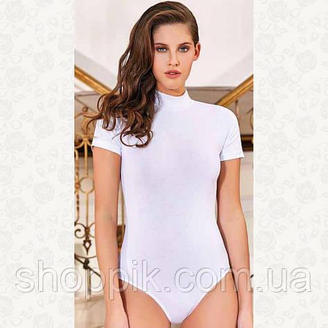 Белое женское боди с коротким рукавом Berrak 2053 | Комбидресс женский, фото 2