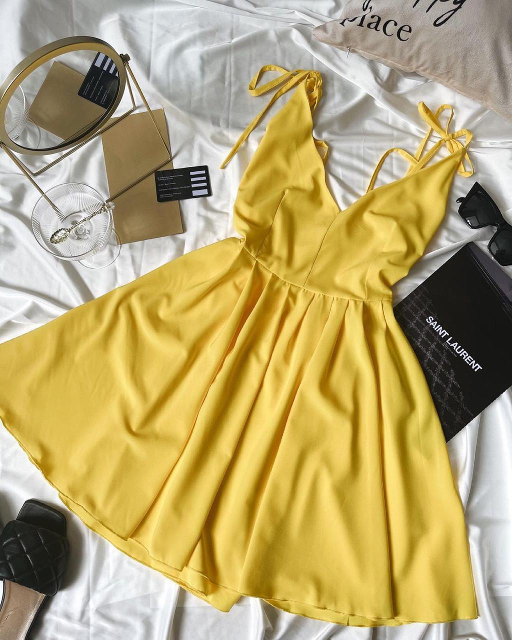 Жіноче плаття, софт, р-р 42-44; 44-46 (жовтий)