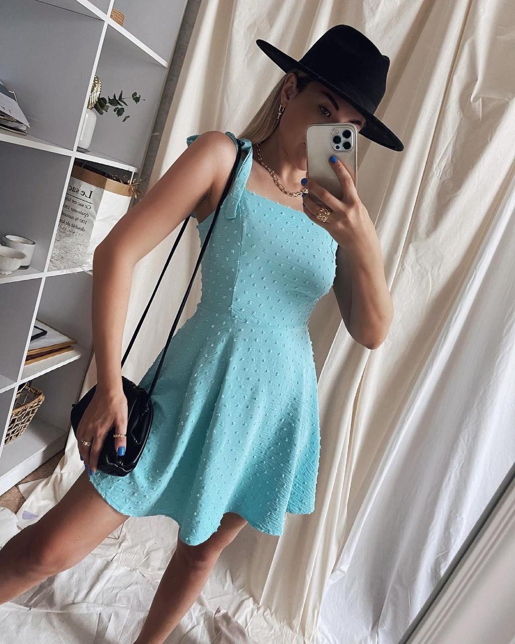 Женское платье, американский креп, р-р 42-44; 44-46 (голубой)