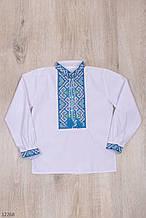 Вышиванка для мальчика с длинным рукавом рост 116-152 (6-12 лет) голубой