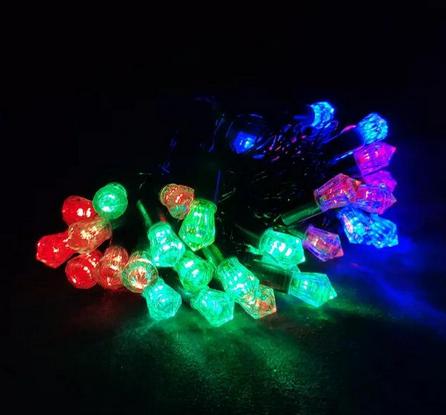 Гирлянда разноцветная кристалл 40LED 5м (флеш) Черный провод RD-7104 | Новогодняя светодиодная гирлянда RGB