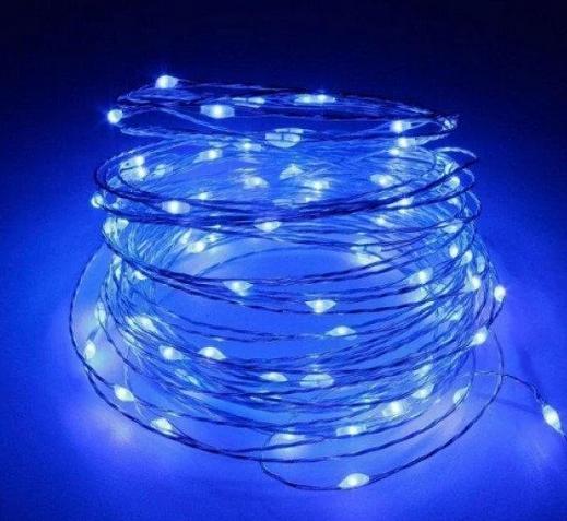 Гирлянда медная лампа Синяя серебряный провод 10м RD-7107   Проволочная нить
