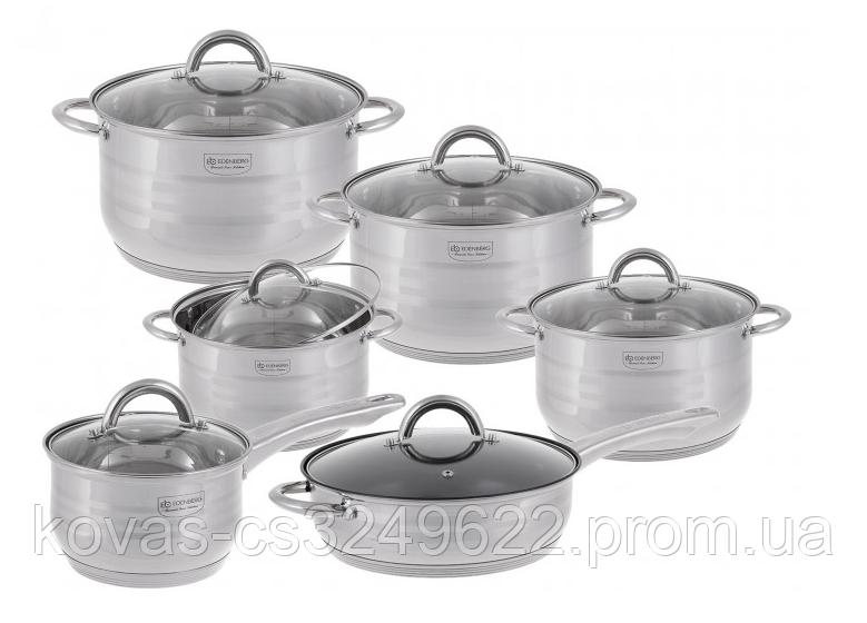 Набір кухонного посуду Edenberg з глибокої сковородою і сотейник, 12 предметів