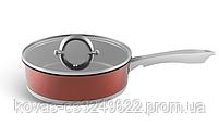 Глубокая сковорода Edenberg из литого алюминия медового цвета - 24 см / 7 см, фото 2