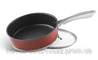 Глубокая сковорода Edenberg из литого алюминия медового цвета - 24 см / 7 см, фото 3