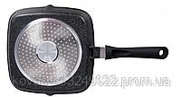 Сковорода гриль Edenberg чорного кольору з мармуровим покриттям - 24 см, фото 2