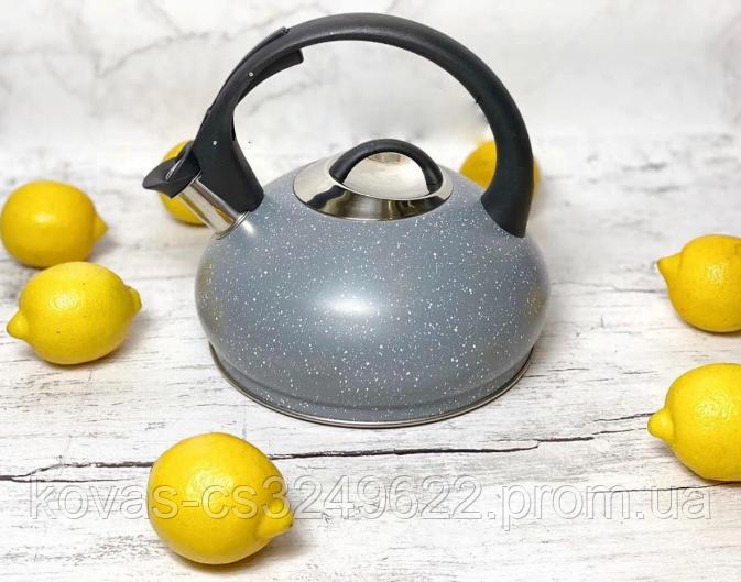 Чайник со свистком 3л из нержавеющей стали Edenberg EB-8812 Чайник для индукционных плит С мраморным покрытием