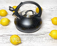 Чайник зі свистком 3л з нержавіючої сталі Edenberg EB-8812 Чайник для індукційних плит З мармуровим покриттям, фото 2