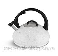 Чайник со свистком 3л из нержавеющей стали Edenberg EB-8812 Чайник для индукционных плит С мраморным покрытием, фото 3