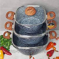 Казан Edenberg с гранитным покрытием серого цвета со стеклянной крышкой - 7.0 л., фото 4