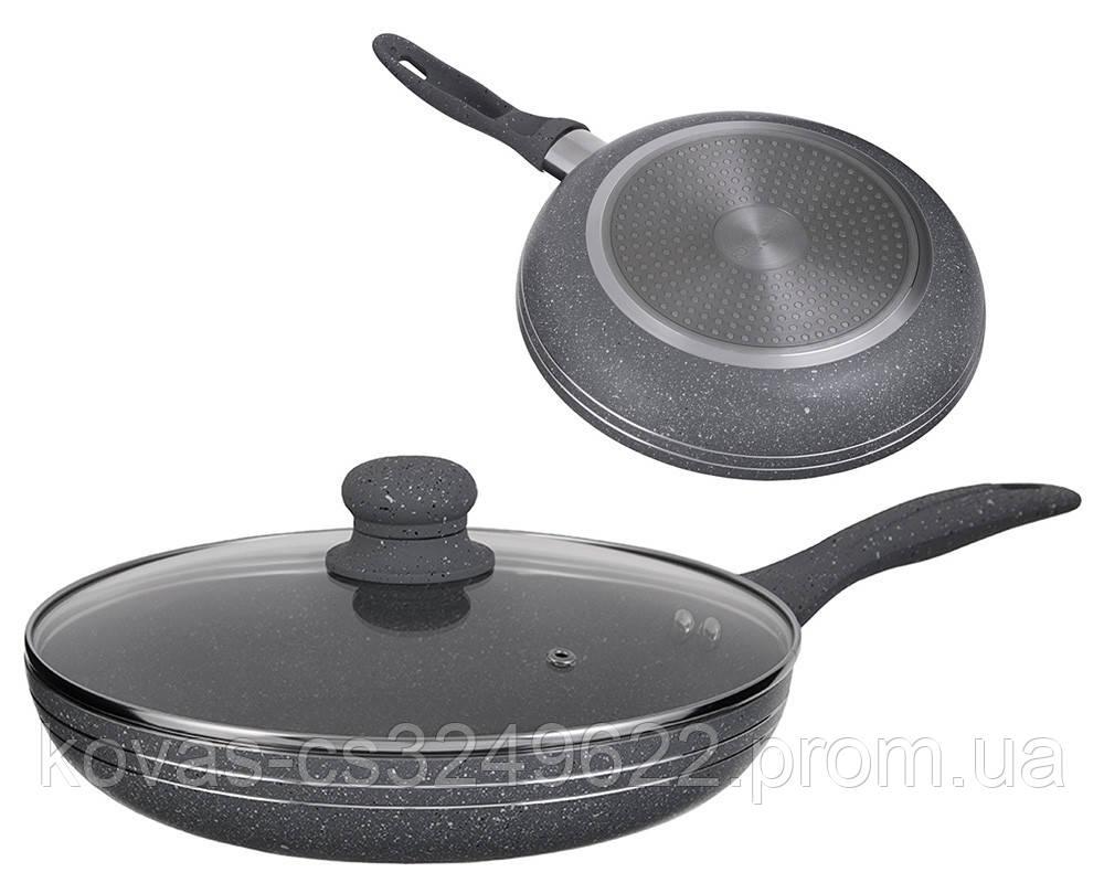 Сковорода алюмінієва з гранітним покриттям і кришкою з жароміцного скла Edenberg EB-784