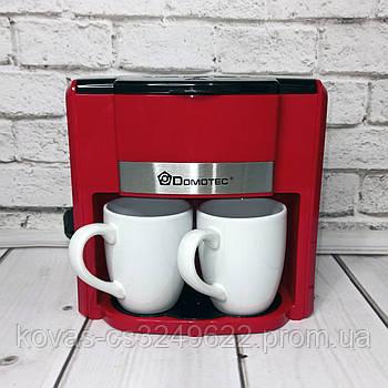 Капельная кофеварка DOMOTEC MS-0705 Красная 500Вт, 2 керамические чашки по 150мл Подробнее: https://rungoods.i