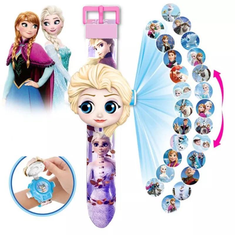 Ельза Іграшка Дитячі наручні проекційні годинники з Ельзою Крижане серце Frozen з проекцією для дівчинки
