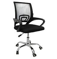 Офисное кресло операторское Бонро для персонала с каучуковыми колесами, кресло для офиса компьютерное черное