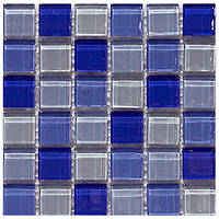 Плитка Мозаика Mozaico de LUX T-MOS M03 WHITE/DARK BLUE/LIGHT BLUE 151726