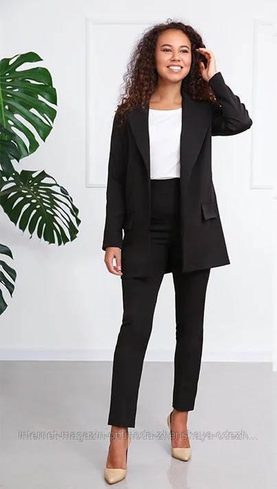 Стильный модный женский костюм брючный в деловом стиле, размеры 42, 44, 46, 48, костюмка, черный, красный