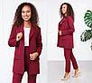 Стильный модный женский костюм брючный в деловом стиле, размеры 42, 44, 46, 48, костюмка, черный, красный, фото 4
