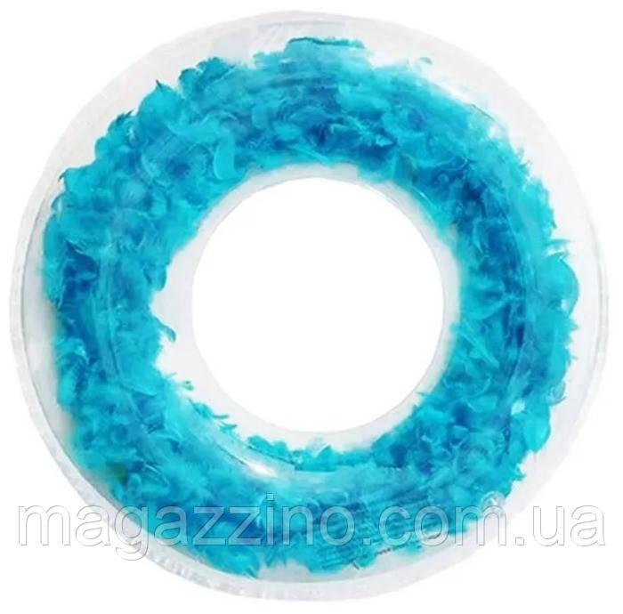 Надувний круг для плавання з пір'ям, 60см., Блакитний