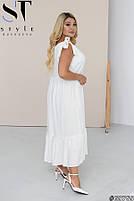 Свободное льняное платье с завязывающимися на бант бретелями с 50 по 60 размер, фото 3