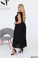 Свободное льняное платье с завязывающимися на бант бретелями с 50 по 60 размер, фото 6