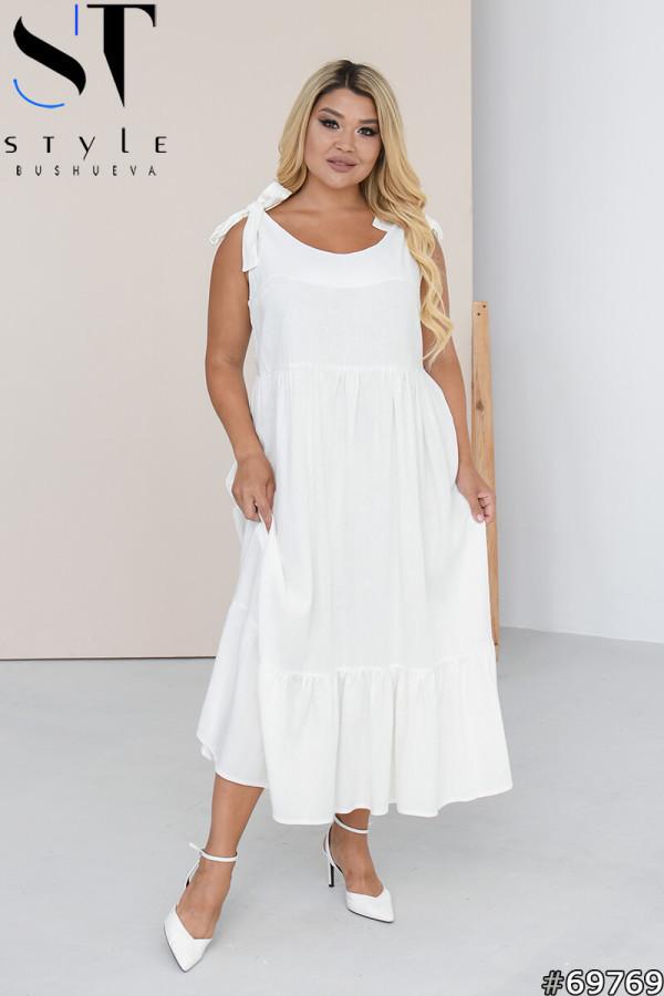 Свободное льняное платье с завязывающимися на бант бретелями с 50 по 60 размер