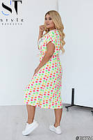 Милое летнее платье с принтом смайлики и V-образным вырезом горловины с 50 по 58 размер, фото 2