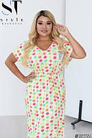 Милое летнее платье с принтом смайлики и V-образным вырезом горловины с 50 по 58 размер, фото 3