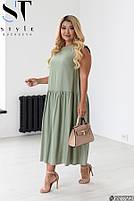 Стильное летнее платье свободного силуэта с заниженной талией с 48 по 58 размер, фото 3