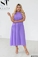Стильное летнее платье свободного силуэта с заниженной талией с 48 по 58 размер, фото 4