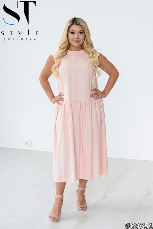 Стильное летнее платье свободного силуэта с заниженной талией с 48 по 58 размер