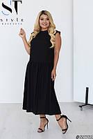 Стильное летнее платье свободного силуэта с заниженной талией с 48 по 58 размер, фото 7