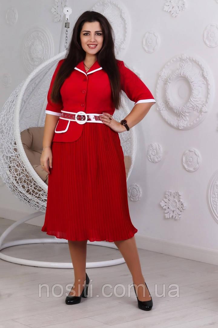 Батальное женское платье с плисерованной юбкой