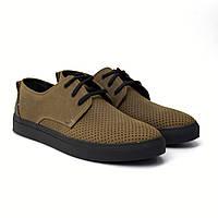 Кроссовки хаки кожа перфорация летние мужская обувь Rosso Avangard Slipy SHN Khaki Perf